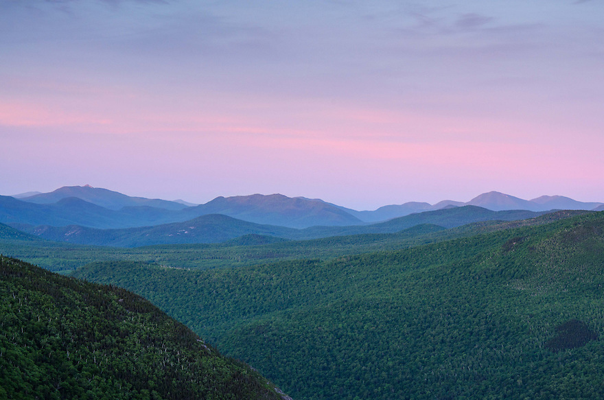 Dawn unfolds over the eastern White Mountains in New Hampshire.