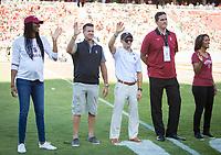 Stanford, CA - September 21, 2019: Foluke Akinradewo, Jeff Austin, Tanner Gardner, Mark Madsen, Diane Morrison Shropshire at Stanford Stadium. The Stanford Cardinal fell to the Oregon Ducks 21-6.