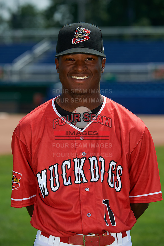 Batavia Muckdogs pitcher C.J. Carter (11) poses for a photo on July 2, 2018 at Dwyer Stadium in Batavia, New York.  (Mike Janes/Four Seam Images)