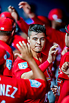 26 February 2019: St. Louis Cardinals infielder Evan Mendoza returns to the dugout after scoring the Cardinals' 5th run in the 8th inning of a Spring Training game against the Washington Nationals at the Ballpark of the Palm Beaches in West Palm Beach, Florida. The Cardinals defeated the Nationals 6-1 in Grapefruit League play. Mandatory Credit: Ed Wolfstein Photo *** RAW (NEF) Image File Available ***