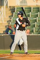 David Lyon (36) of the Hickory Crawdads at bat against the Kannapolis Intimidators at CMC-Northeast Stadium on July 26, 2013 in Kannapolis, North Carolina.  The Intimidators defeated the Crawdads 2-1.  (Brian Westerholt/Four Seam Images)