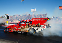 Oct 27, 2017; Las Vegas, NV, USA; NHRA funny car driver Jonnie Lindberg does a burnout during qualifying for the Toyota National at The Strip at Las Vegas Motor Speedway. Mandatory Credit: Mark J. Rebilas-USA TODAY Sports