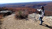NWA Democrat-Gazette/FLIP PUTTHOFF <br /> Nancy Gilmore takes in the view Nov. 30 2016 at White Rock Mountain.