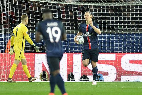06.04.2016. Paris, France. UEFA CHampions League, quarter-final. Paris St Germain versus Manchester City.  ZLATAN IBRAHIMOVIC (psg) celebrates his goal