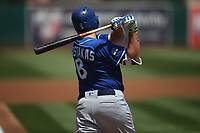 OAKLAND, CA - AUGUST 16:  Mike Moustakas #8 of the Kansas City Royals bats against the Oakland Athletics during the game at the Oakland Coliseum on Wednesday, August 16, 2017 in Oakland, California. (Photo by Brad Mangin)
