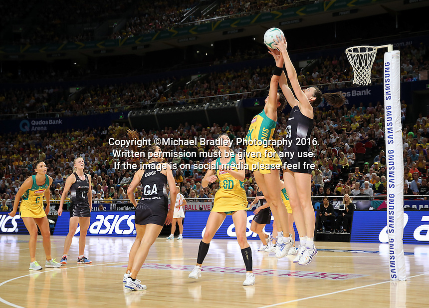 09.10.2016 Silver Ferns Bailey Mes and Australia's Sharni Layton in action during the Silver Ferns v Australia netball test match played at Qudos Bank Arena in Sydney. Mandatory Photo Credit ©Michael Bradley.