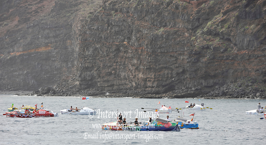 La Gomera, Canary Islands, Mass start of the 2009 Woodvale Atlantic Rowing Race. [Start delayed from Dec 6th 2009] 14:34:11,  Monday,  04/01/2010.  [Mandatory Credit. Peter Spurrier/Intersport Images]