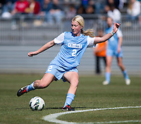 Caitlin Bale (2) of North Carolina takes a shot during the game at the Maryland SportsPlex in Boyds, MD.  The Washington Spirit defeated the North Carolina Tar Heels in a preseason exhibition, 2-0.