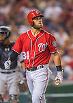 23 July 2016: Washington Nationals outfielder Bryce Harper looks up at the scoreboard during a game against the San Diego Padres at Nationals Park in Washington, DC. The Nationals defeated the Padres 3-2 to tie their series at one game apiece. Mandatory Credit: Ed Wolfstein Photo *** RAW (NEF) Image File Available ***