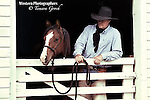 A photo of a cowboy leaning over the barn gate holding a yearling colt in a rope halter. Cowboy Photos, riding,roping,horseback