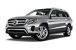 Stock pictures of low aggressive front three quarter view of 2017 Mercedes Benz GLS-Class GLS450 5 Door SUV Low Aggressive