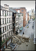 Pic show the collapsed building in Candleriggs, Glasgow, which came down at around 1 am .... Pic Donald MacLeod 19.10.01