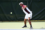 09 May 2015: Rishab Agarwal (IND). The University of North Carolina Tar Heels hosted the Mississippi State University Bulldogs at Cone-Kenfield Tennis Center in Chapel Hill, North Carolina in a 2015 NCAA Division I Men's Tennis Tournament Second Round match. UNC won the match 4-1.