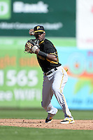 Shortstop Alen Hanson (63) of the Pittsburgh Pirates during a spring training game against the Toronto Blue Jays on February 28, 2014 at Florida Auto Exchange Stadium in Dunedin, Florida.  Toronto defeated Pittsburgh 4-2.  (Mike Janes/Four Seam Images)