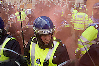 G20 Meltdown Protest In the City of London. Four marches reached the bank of England where there were scuffles with Police in the surrounding roads. At one point the Royal Bank of Scotland had its windows smashed.