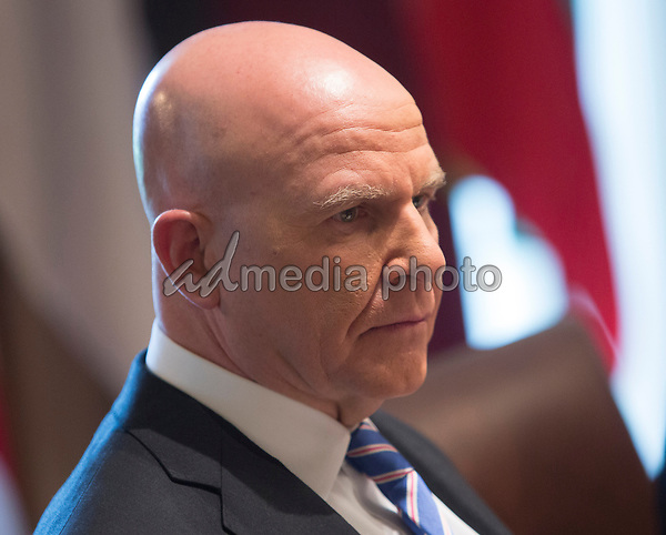 Outgoing National Security Advisor H. R. McMaster listens during a luncheon with the Baltic States Heads of Government at The White House in Washington, DC, April 3, 2018. Photo Credit: Chris Kleponis/CNP/AdMedia