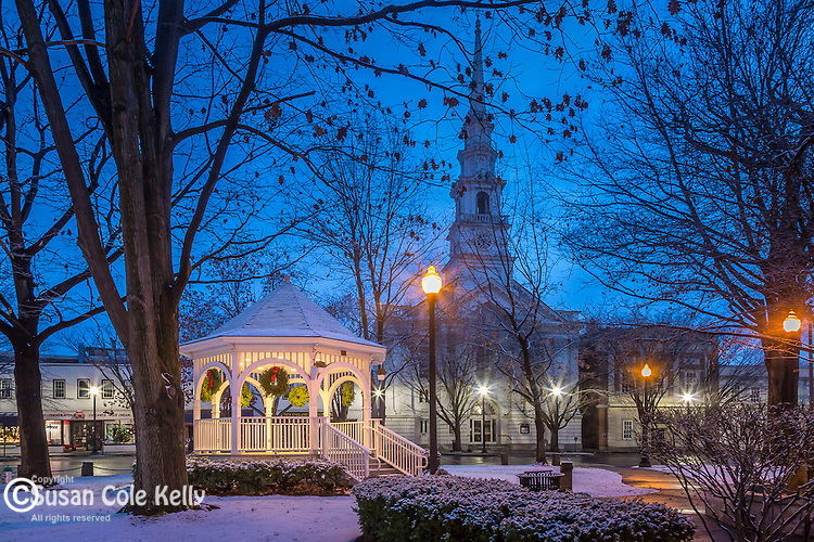 A holiday season snowfall at Central Square in Keene, New Hampshire, USA