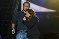 Isabelle Boulay and Corey Hart perform at the St-Jean show on the Plains of Abraham in Quebec City during the FÍte nationale du Quebec, Thursday June 23, 2016. St-Jean Baptist is Quebec National day and is traditionally celebrated on the Plains of Abraham with a concert and a huge fire.