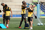 Getafe's Allan Nyom (l) and Francisco Portillo during training session. May 25,2020.(ALTERPHOTOS/Acero)