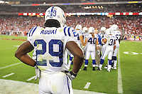 Sept. 27, 2009; Glendale, AZ, USA; Indianapolis Colts running back (29) Joseph Addai against the Arizona Cardinals at University of Phoenix Stadium. Indianapolis defeated Arizona 31-10. Mandatory Credit: Mark J. Rebilas-