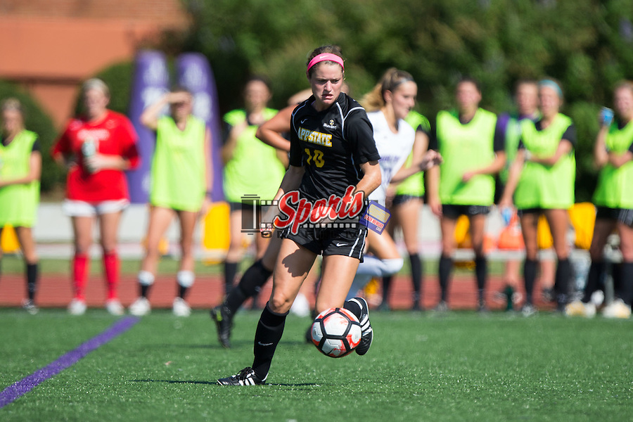 Jane Cline (10) of the Appalachian State Mountaineers \vtl\ during first half action against the High Point Panthers at Vert Track, Soccer & Lacrosse Stadium on August 26, 2016 in High Point, North Carolina.  The Panthers defeated the Mountaineers 2-0.  (Brian Westerholt/Sports On Film)