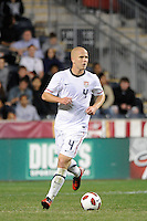 Michael Bradley (4) of the United States (USA). The men's national teams of the United States (USA) and Colombia (COL) played to a 0-0 tie during an international friendly at PPL Park in Chester, PA, on October 12, 2010.