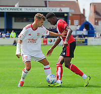 Lincoln City's Jordan Adebayo-Smith vies for possession with Lincoln United's Charlie West<br /> <br /> Photographer Chris Vaughan/CameraSport<br /> <br /> Football Pre-Season Friendly (Community Festival of Lincolnshire) - Lincoln City v Lincoln United - Saturday 6th July 2019 - The Martin & Co Arena - Gainsborough<br /> <br /> World Copyright © 2018 CameraSport. All rights reserved. 43 Linden Ave. Countesthorpe. Leicester. England. LE8 5PG - Tel: +44 (0) 116 277 4147 - admin@camerasport.com - www.camerasport.com