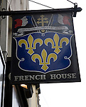 French House pub sign, Soho, London, England