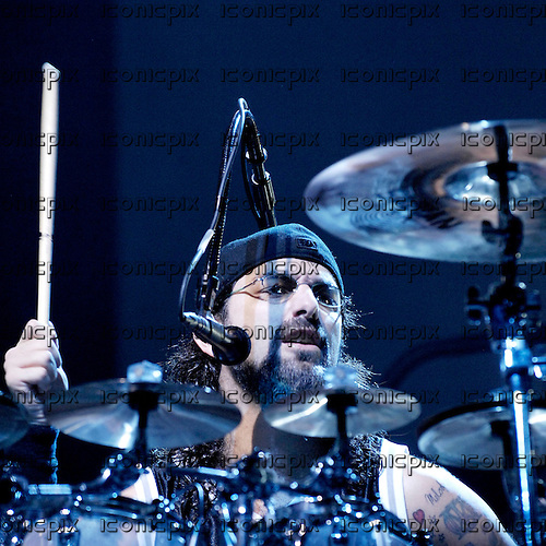 Dream Theater - drummer Mike Portnoy - performing live at Wembley Arena in London UK - 13 Oct 2007.  Photo credit: George Chin/IconicPix