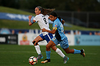 Piscataway, NJ - Saturday August 26, 2017: Julie King, Samantha Kerr during a regular season National Women's Soccer League (NWSL) match between Sky Blue FC and the Boston Breakers at Yurcak Field.