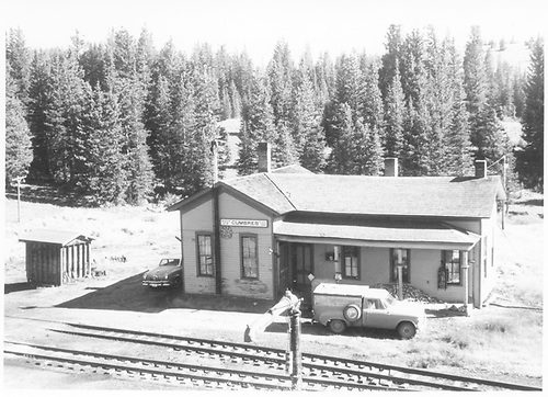 D&amp;RGW Cumbres section house now used as depot.  View is track side from high on reservoir.  Car is a 1951 Studebaker.<br /> D&amp;RGW  Cumbres, CO