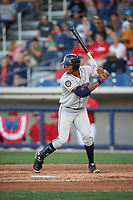 Mahoning Valley Scrappers right fielder Will Benson (7) at bat during a game against the Williamsport Crosscutters on July 8, 2017 at BB&T Ballpark at Historic Bowman Field in Williamsport, Pennsylvania.  Williamsport defeated Mahoning Valley 6-1.  (Mike Janes/Four Seam Images)
