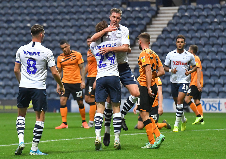 Preston North End's Paul Huntington celebrates scoring his sides opening goal<br /> <br /> Photographer Dave Howarth/CameraSport<br /> <br /> The Carabao Cup Second Round - Preston North End v Hull City - Tuesday 27th August 2019  - Deepdale Stadium - Preston<br />  <br /> World Copyright © 2019 CameraSport. All rights reserved. 43 Linden Ave. Countesthorpe. Leicester. England. LE8 5PG - Tel: +44 (0) 116 277 4147 - admin@camerasport.com - www.camerasport.com