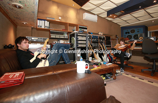 The Sherlocks working on their album Live For The Moment at Rockfield Studios in Monmouth, Wales, United Kingdom, 13th January 2017. Photo by Glenn Ashley.