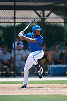 GCL Blue Jays left fielder D.J. Daniels (23) at bat during a game against the GCL Pirates on July 20, 2017 at Bobby Mattick Training Center at Englebert Complex in Dunedin, Florida.  GCL Pirates defeated the GCL Blue Jays 11-6 in eleven innings.  (Mike Janes/Four Seam Images)