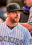 16 September 2017: Colorado Rockies pitcher Scott Oberg looks out from the dugout prior to a game against the San Diego Padres at Coors Field in Denver, Colorado. The Rockies shut out the Padres in a 16-0 route of the second game in their 3-game divisional series. Mandatory Credit: Ed Wolfstein Photo *** RAW (NEF) Image File Available ***