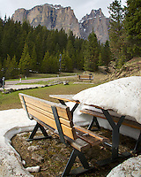 Snowy picnic table, Sella Pass, Dolomite Mountains, South Tyrol, Italy