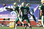 Manhattan Beach, CA 10/27/11 - Max MacLeay (Peninsula #5), Jake Shapiro (Mira Costa #8) and Greg French (Mira Costa #2) in action during the Peninsula vs Mira Costa Junior Varsity football game.