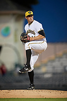 Bradenton Marauders relief pitcher Bo Schultz (36) delivers a pitch during a game against the Tampa Tarpons on April 25, 2018 at LECOM Park in Bradenton, Florida.  Tampa defeated Bradenton 7-3.  (Mike Janes/Four Seam Images)