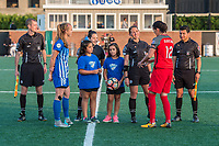 Boston, MA - Sunday September 10, 2017: Julie King and Christine Sinclair with game officials for the coin toss during a regular season National Women's Soccer League (NWSL) match between the Boston Breakers and Portland Thorns FC at Jordan Field.