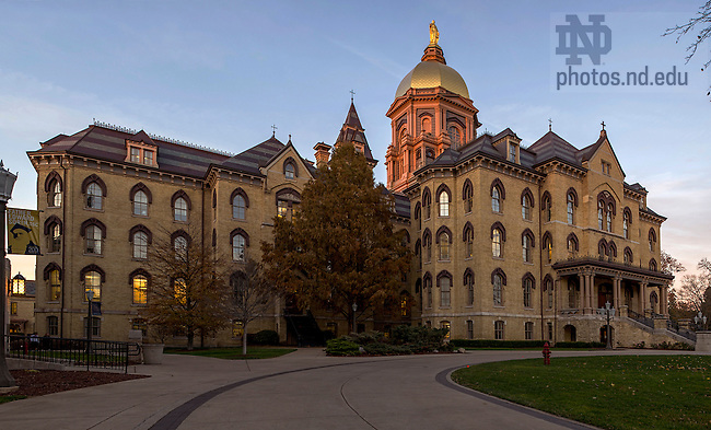 Nov. 10, 2014; Golden Dome atop the Main Building at dusk. (Photo by Barbara Johnston/University of Notre Dame)