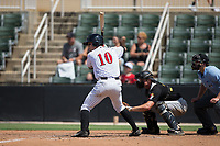 Mitch Roman (10) of the Kannapolis Intimidators at bat against the West Virginia Power at Kannapolis Intimidators Stadium on June 18, 2017 in Kannapolis, North Carolina.  The Intimidators defeated the Power 5-3 to win the South Atlantic League Northern Division first half title.  It is the first trip to the playoffs for the Intimidators since 2009.  (Brian Westerholt/Four Seam Images)