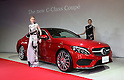 "March 14, 2016, Tokyo, Japan - Models in creation of Japanese designer Yu Amatsu of ""Hanae Mori manuscrit"" stand next to Mercedes-Benz new C-class coupe at Mercedes' showroom in Tokyo on Monday, March 14, 2016 as Mercedes introduces the new coupe model on Japanese market. Tokyo fashion week sponsored by Merceds Benz started here on March 14 and runs through to the 19th.  (Photo by Yoshio Tsunoda/AFLO) LWX -ytd-"