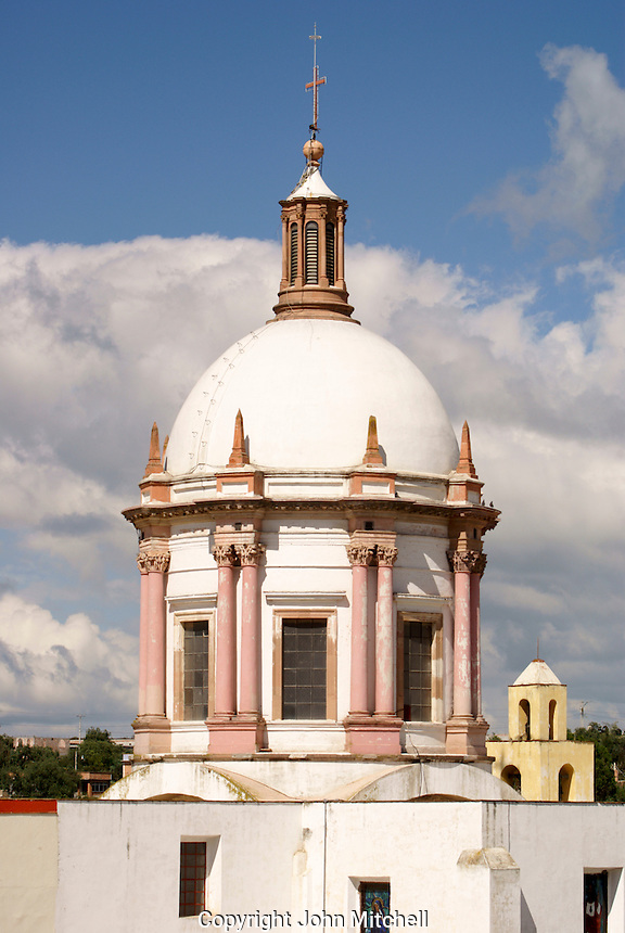 The neoclassical style dome of the Parroquia San Pedro church in the 19th-century mining town of Mineral de Pozos, Guanajuato, Mexico