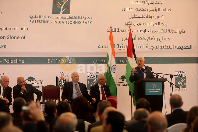 Palestinian President Mahmoud Abbas speaks during a ceremony of laying the foundation stone of Palestine-India Techno Park, near the West Bank city of Ramallah November 8, 2016. Photo by Shadi Hatem