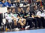 12.01.2019, Mercedes Benz Arena, Berlin, GER, Germany vs. Brazil, im Bild Fabian Wiede (GER #10), Martin Strobel (GER #19), Cheftrainer (Head Coach) Christian Prokop (GER), Co-TrainerAlexander Haase (GER), Teamkoordinator Oliver Roggisch (GER)<br /> <br />      <br /> Foto &copy; nordphoto / Engler