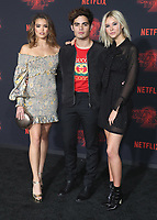 """WESTWOOD - OCTOBER 26:  Paris Berelc, Emery Kelly and Isabel May at the premiere of Netflix's """"Stranger Things"""" Season 2 at the Regency Village Theatre on October 26, 2017 in Westwood, California. (Photo by Scott Kirkland/PictureGroup)"""