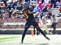 College Park, MD - OCT 15, 2016: Maryland Terrapins quarterback Tyrrell Pigrome (3) launches a pass down field from the pocket during game between Maryland and Minnesota at Capital One Field at Maryland Stadium in College Park, MD. (Photo by Phil Peters/Media Images International)