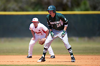 Michigan State Spartans first baseman Alex Troop (32) leads off second base in front of shortstop Owen Miller (8) during a game against the Illinois State Redbirds on March 8, 2016 at North Charlotte Regional Park in Port Charlotte, Florida.  Michigan State defeated Illinois State 15-0.  (Mike Janes/Four Seam Images)