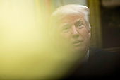 U.S. President Donald Trump speaks as he meets with county sheriffs during a listening session in the Roosevelt Room of the White House in Washington, D.C., U.S., on Tuesday, Feb. 7, 2017. The Trump administration will return to court Tuesday to argue it has broad authority over national security and to demand reinstatement of a travel ban on seven Muslim-majority countries that stranded refugees, triggered protests and handed the young government its first crucial test. <br /> Credit: Andrew Harrer / Pool via CNP